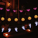 Halloween LED Fairy String Lights, Set of 3 Battery Operated 11.5ft Pumpkin Bat Ghost Decoration...
