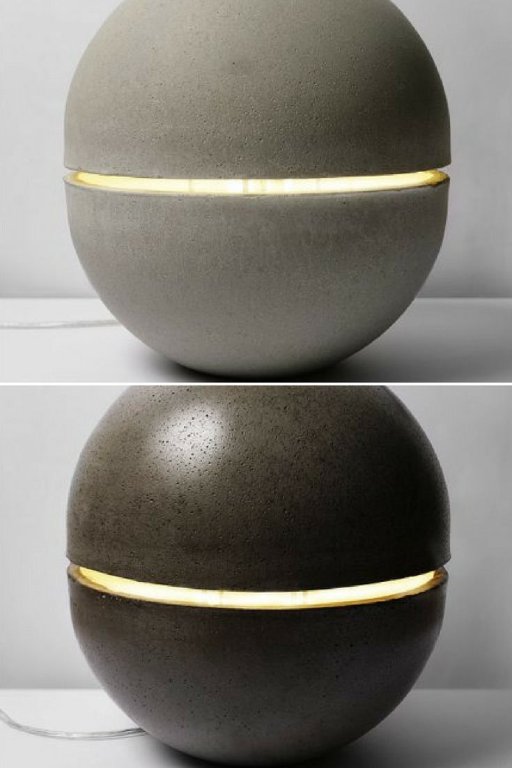 The Gayalux lamp is both sculptural and light floor lamp. This ball mineral is anchored on the ground, it seems to levitate with his streak of light passing through it. Concrete leaves architecture for the object, the block is curved like a skin. #concept #floorlamp #hugelighting #lamp #lighting #lightingdesign #modernlighting