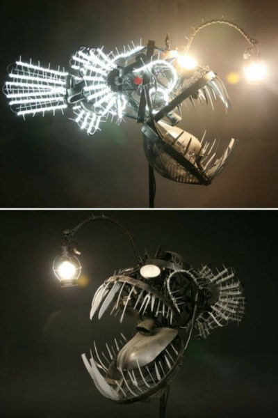 Deep Sea Angler Steampunk Fish Lamp