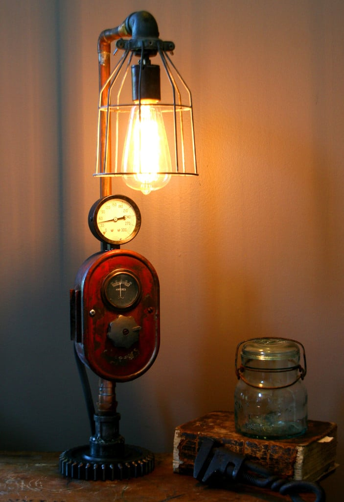 Modern Farmhouse Tractor Industrial Table Lamp - iD Lights