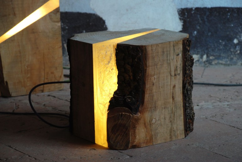 Light Wood Tree Log Floor Lamp - wood-lamps, floor-lamps