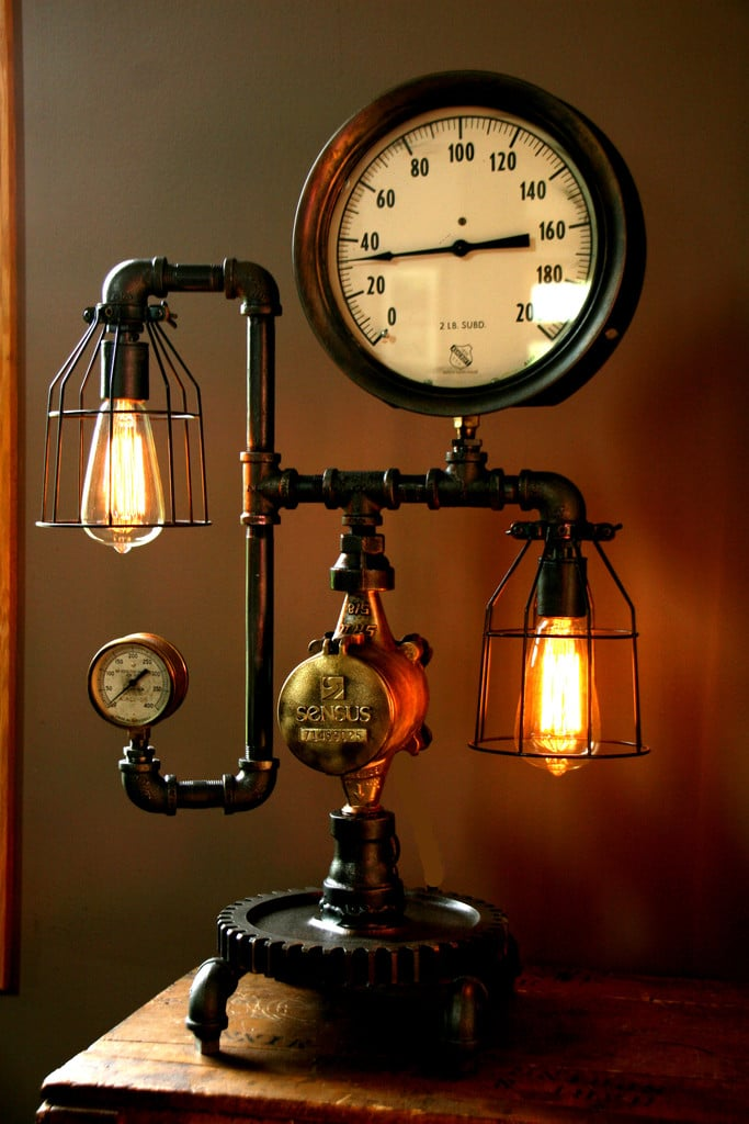 Steam Gauge Industrial Table Lamp