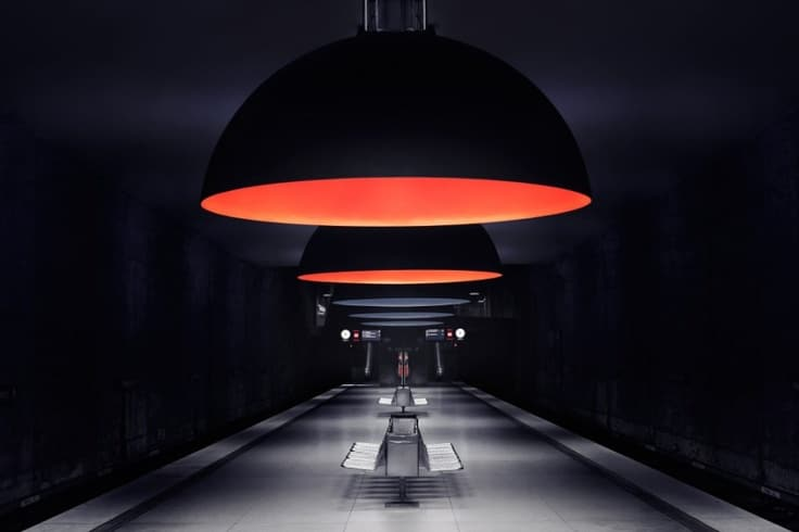 Westfriedhof Subway Station Huge Pendant Lighting - restaurant-bar, pendant-lighting