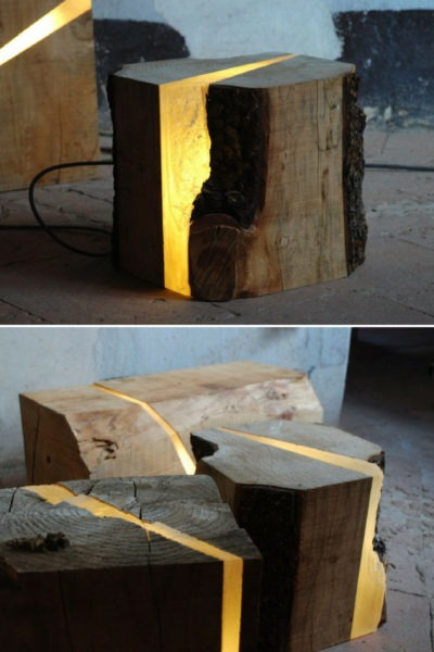 Light Wood Tree Log Floor Lamp