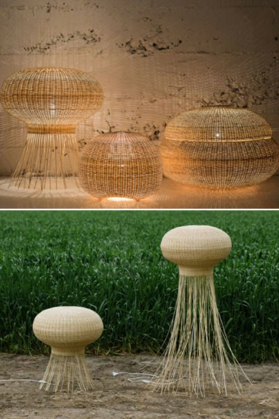 Wicker Mimbre Design Floor Lamp
