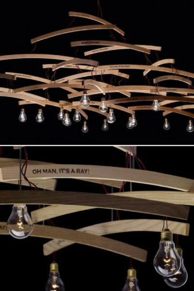 Wood Chandelier with Recycled Hangers