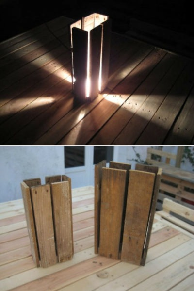 Wooden Pallet Floor Lamp