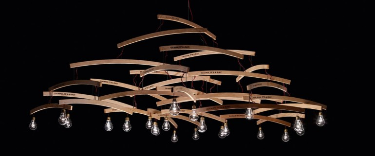 Wood Chandelier with Recycled Hangers - wood-lamps, chandeliers
