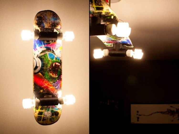 Recycled Skateboard Lights - wall-lights-sconces, flush-mount-lighting