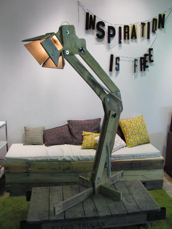 Huge Wood Pallet Floor Lamp - wood-lamps, restaurant-bar, floor-lamps