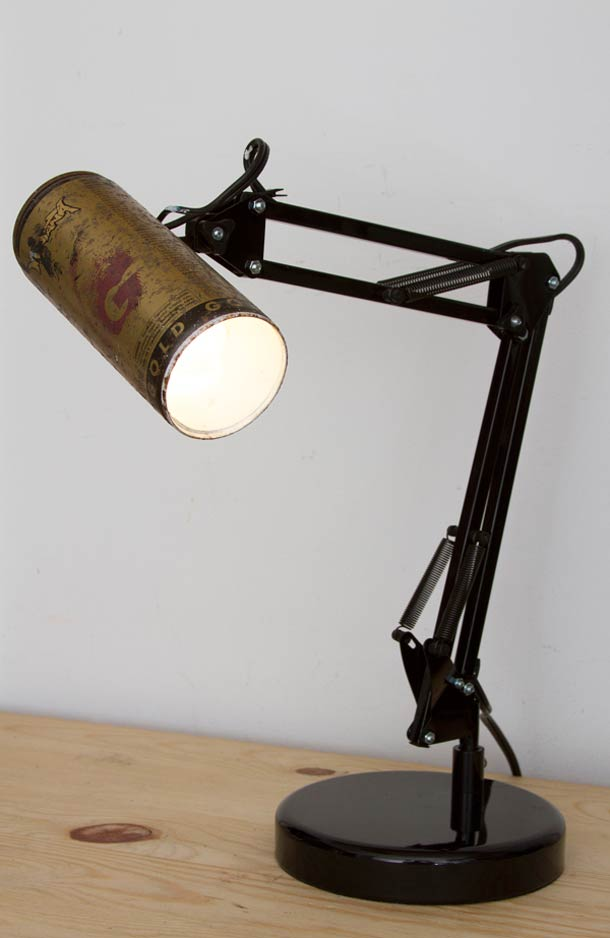Recycled spray cans into desk lamps - desk-lamps