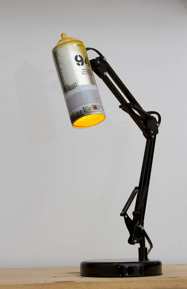 Recycled spray cans into desk lamps Desk Lamps