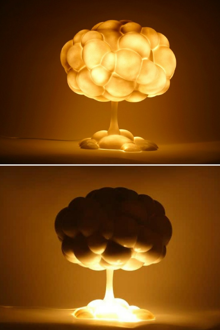 Conceptual explosive mushroom lamp. After the end of the Cold War between the US and the Soviet Union, the crisis of nuclear wars was believed to have disappeared. However, even after the Cold War, India, Pakistan, China, and France have continued the development of nuclear weapons. The number of nuclear powers is still increasing and the crisis of nuclear wars has not yet ended. #concept #lamp #lighting #lightingdesign #vintagelighting