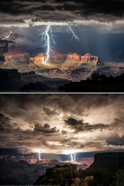 Powerful Lightning Storms Over Grand Canyon