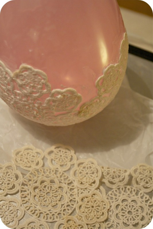 DIY: Candle Holder Table Lamp with old lace pieces - table-lamps