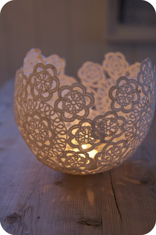 DIY: Candle Holder Table Lamp with old lace pieces Table Lamps