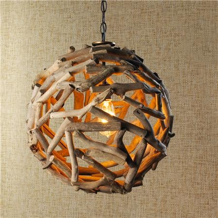 Ball Driftwood Pendant Light - wood-lamps, pendant-lighting