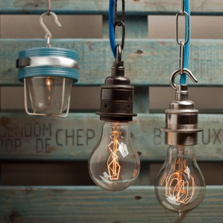 Cute Chandelier made with Hooks & Edison bulbs - pendant-lighting