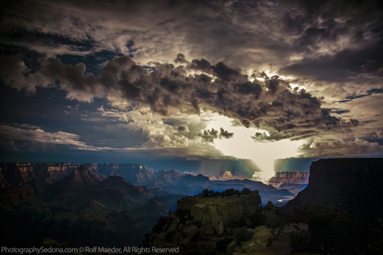 Powerful Lightning Storms Over Grand Canyon - outdoor-lighting
