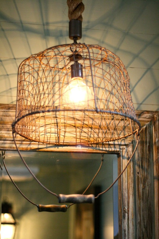 Recycled Basket as a Pendant Lighting Pendant Lighting