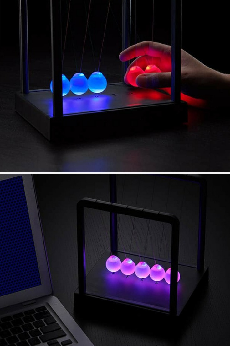 LED Light-up Newton's Cradle Desk Lamp - desk-lamps