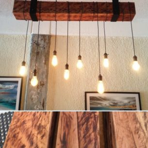 Rustic Wood Beam Lighting Industrial Chandelier