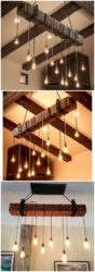 Rustic Wooden Beam Industrial Chandelier
