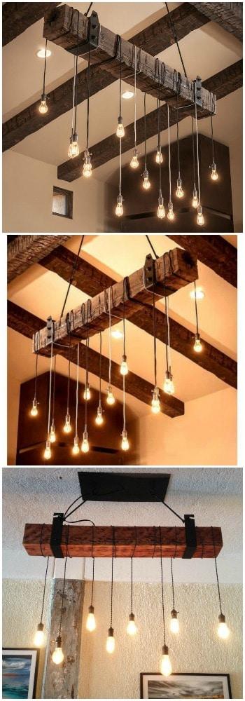 Rustic Wooden Beam Industrial Chandelier - wood-lamps, restaurant-bar, chandeliers