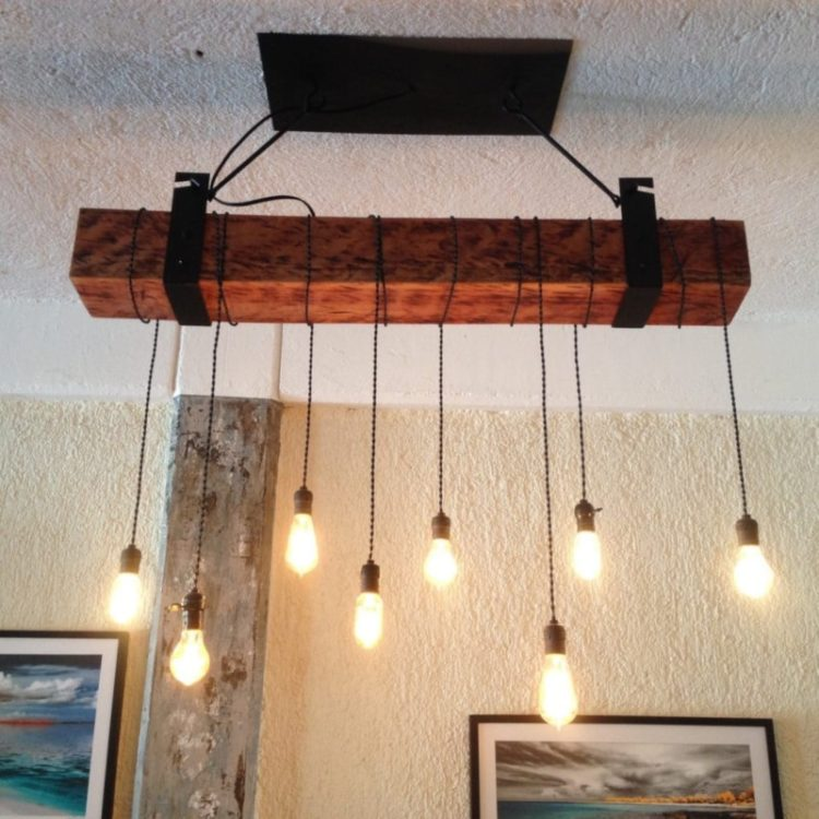 Rustic Wooden Beam Industrial Chandelier Chandeliers Wood Lamps