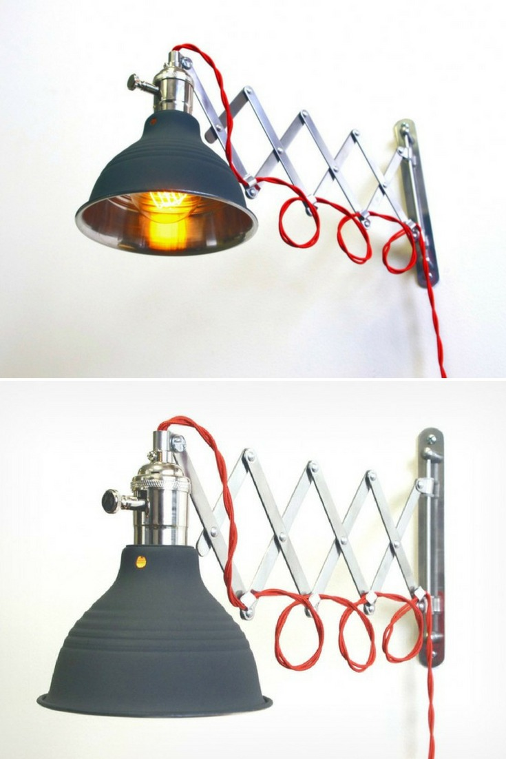 Steam Punk Scissor Industrial Wall Sconce