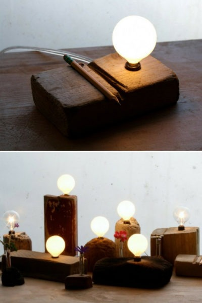 Wood Fragment Table Lamp