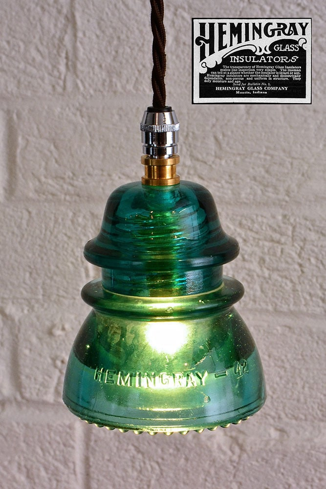 Hemingray 1950s insulator pendant lighting id lights for Insulator pendant light