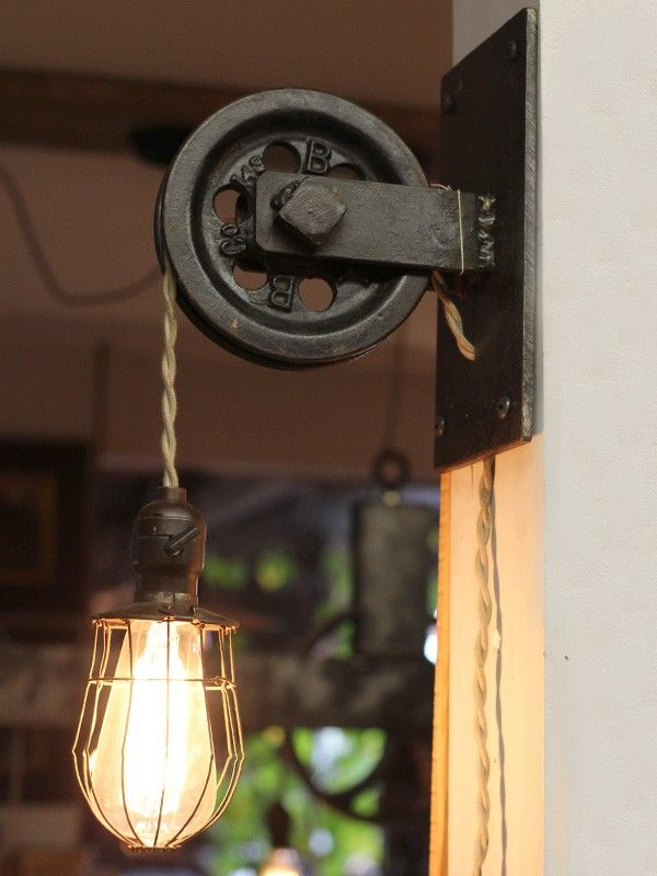 Rustic Farmhouse Pulley Pendant Light   Wall Lights Sconces