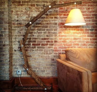 Rustic Wood Arc Floor Lamp