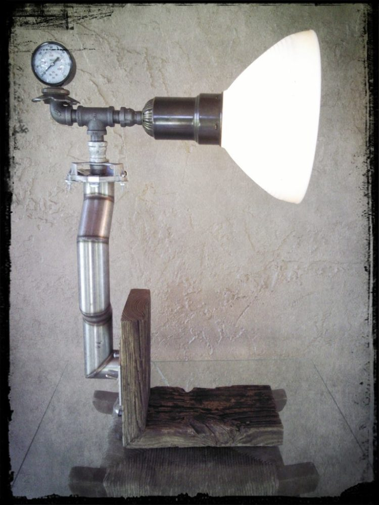 Upcycled Stainless Steel Exhaust Pipe Lamp