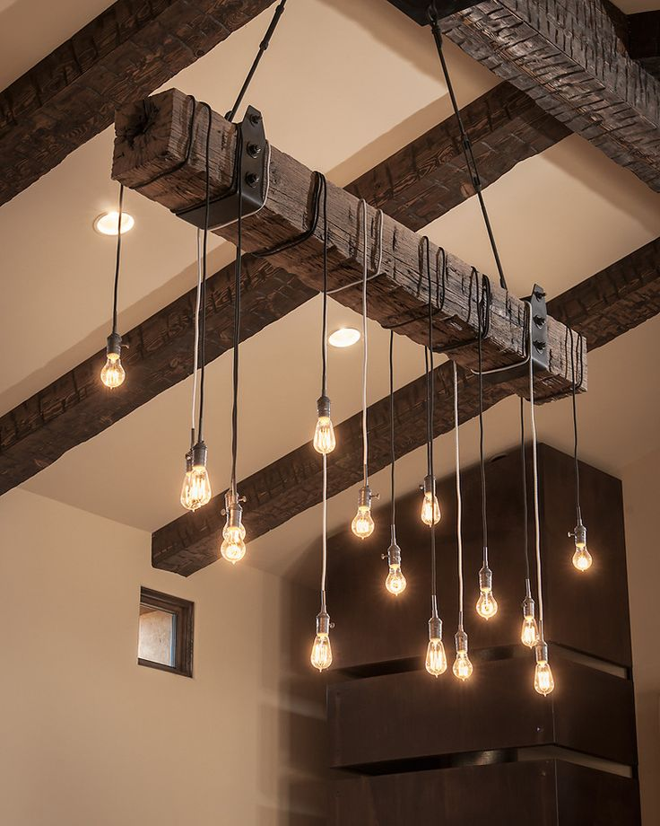 Rustic Wood Beam Lighting Industrial Chandelier - wood-lamps, restaurant-bar, chandeliers
