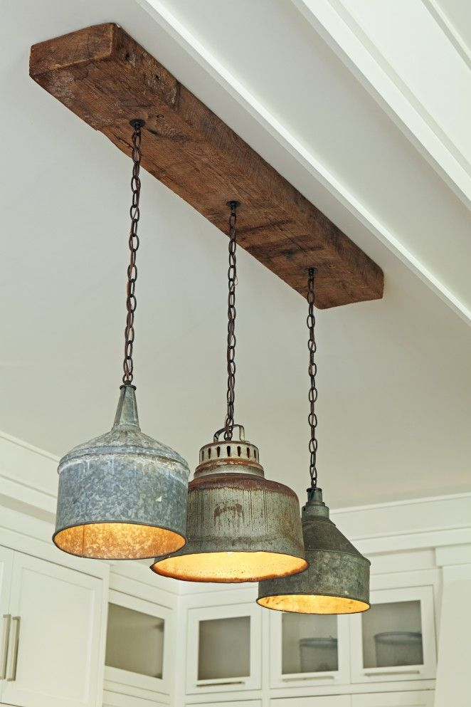 Rustic Farmhouse Kitchen Pendant Lighting - wood-lamps, restaurant-bar, flush-mount-lighting