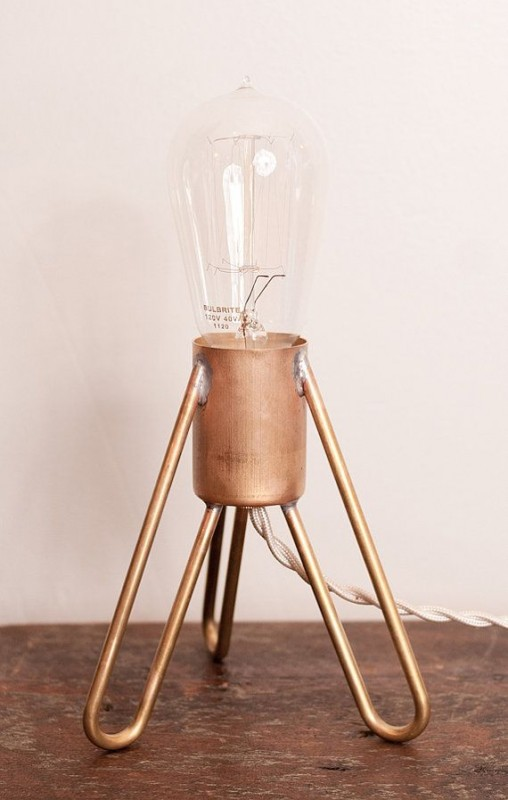 Rocket Industrial Table Lamp With Edison Bulb   Table Lamps