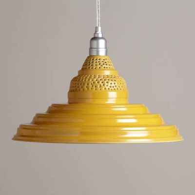 Yellow Punched Metal Pendant