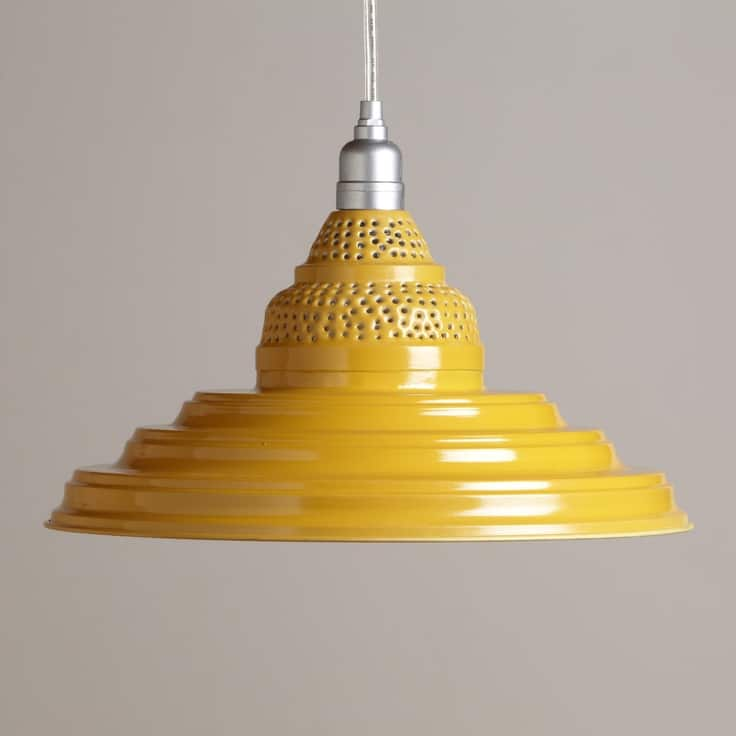 Yellow Punched Metal Pendant - pendant-lighting