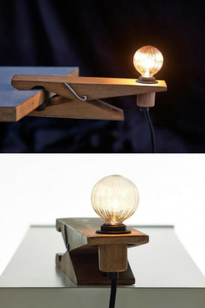 Clamp Wood Desk Lamp