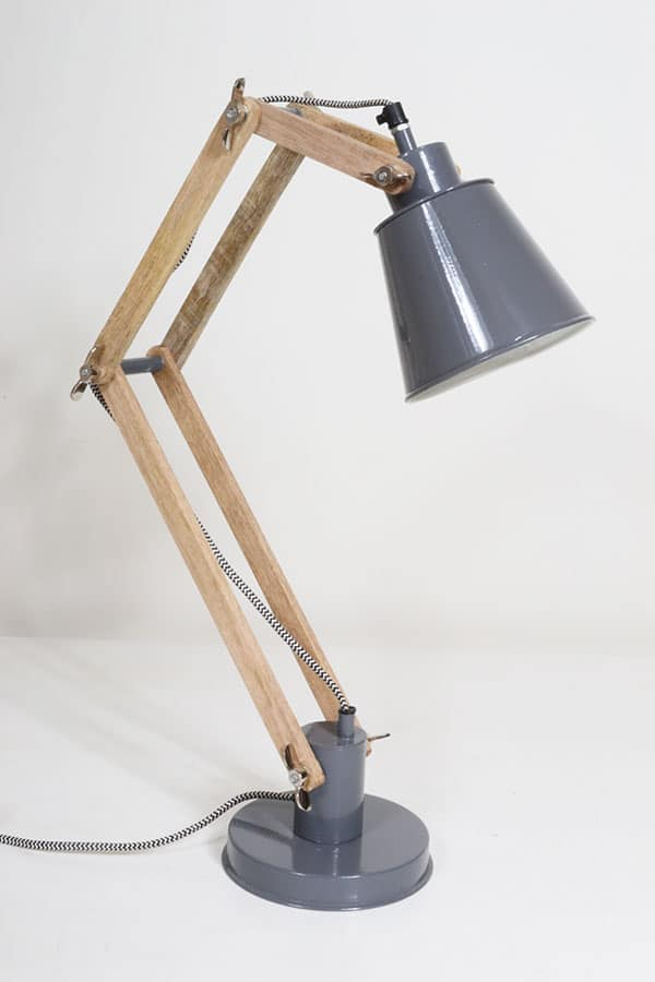 two arm timber wood desk lamp id lights