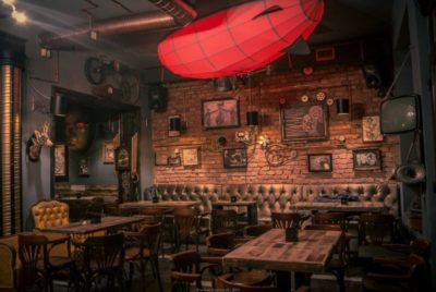 Steampunk Bistro Pub with nice lamps