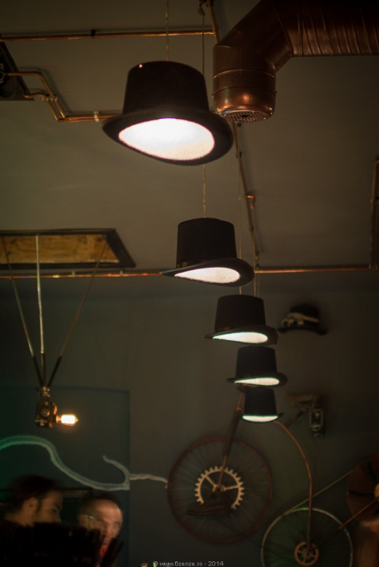 Steampunk Bistro Pub with nice Ceiling Lights - flush-mount-lighting
