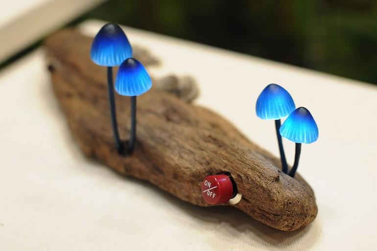 Cute Mushroom Lamp - wood-lamps, desk-lamps