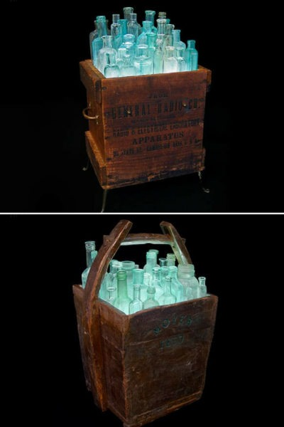 Light in Box: Recycled Wood & Bottles Floor Lamp