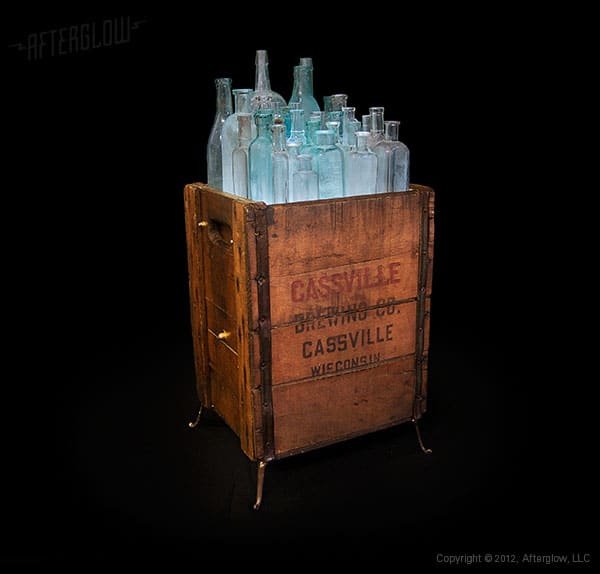Light in Box: Recycled Wood and Bottles Floor Lamp