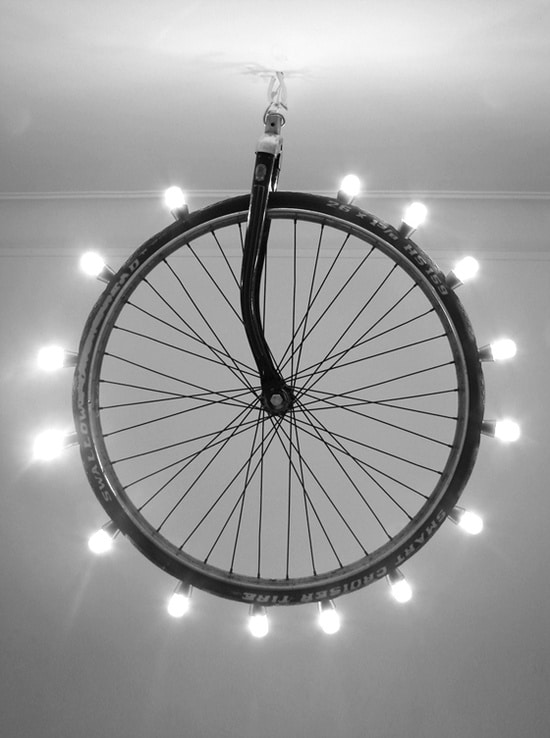 Big Bike Wheel Chandelier