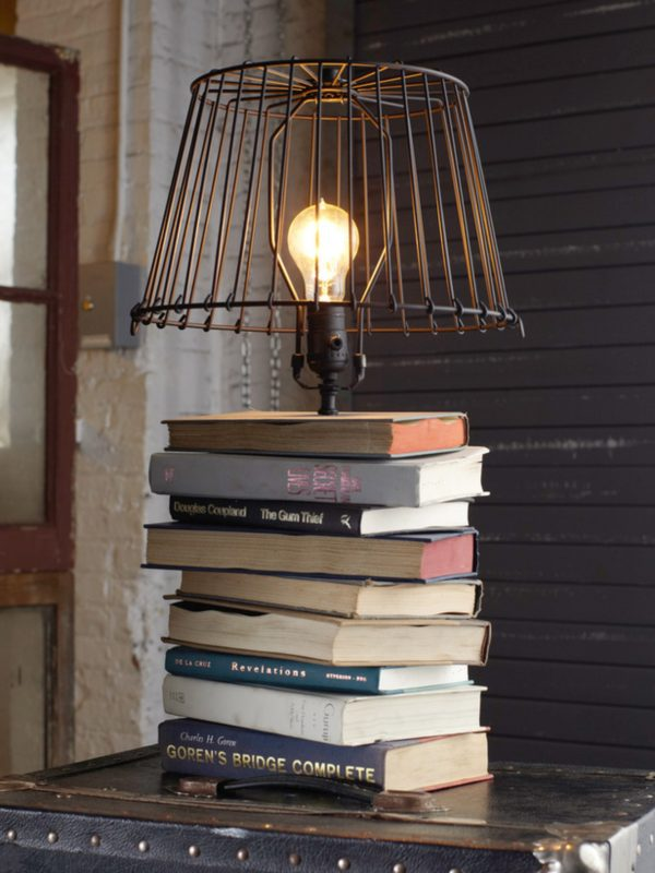 DIY Recycled Books Table Lamp - table-lamps