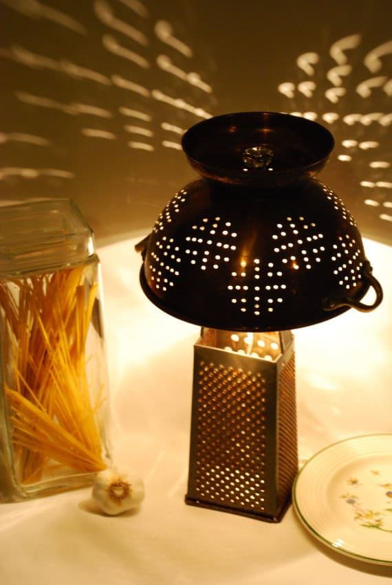 Rustic Recycled Cheese Grater and Colander Countertop Lamp Light